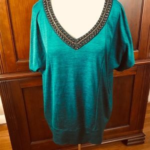 Tunic top. Green with Brass embellishment